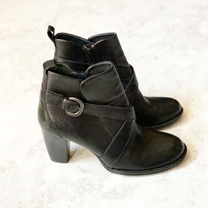 Born Shola Black Ankle Boots Buckle Heeled 9.5